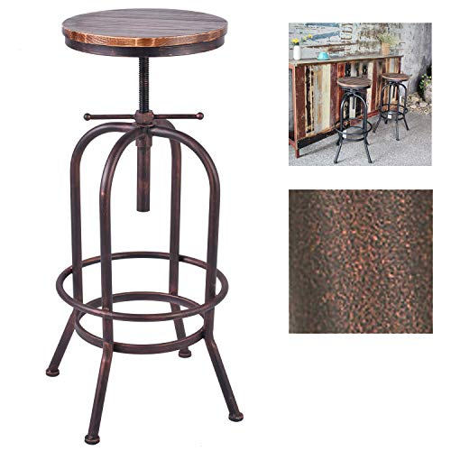trial Bar Stool Solid Wood and Metal Height Adjustable Swivel Counter Height Dining Chair(Assembly not Required) (Bronze) ()