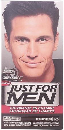 Just For Men, Tinte Colorante en champu para el cabello del hombre. Elimina las canas y rejuvenece el cabello en 5 minutos. H55, Negro, 60 ml