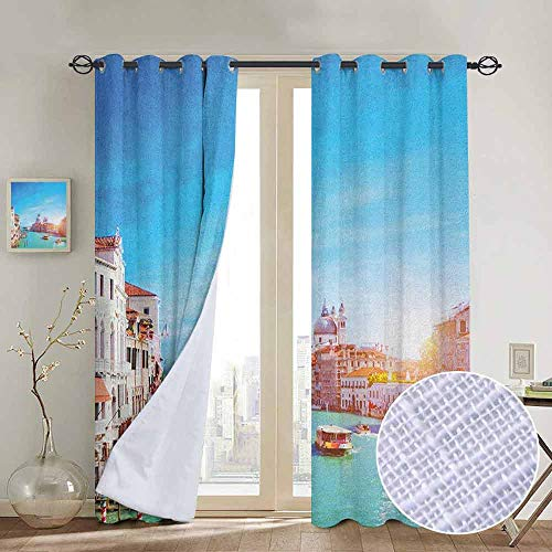 (Modern Farmhouse Country Curtains Venice,Grand Canal and The Salute Basilica on Sunny Day Touristic Destination, Sky Blue White Cinnamon,Design Drapes 2 Panels Bedroom Kitchen Curtains 84