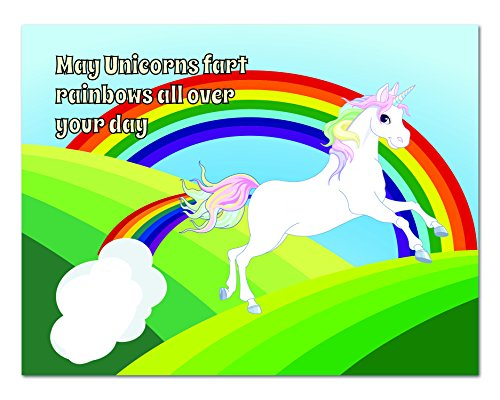 Unicorn Blank Greeting Card – Humor – Rainbows – Blank on the Inside – Includes 12 Cards and Envelopes – 5.5″ x 4.25″(12 Pack)