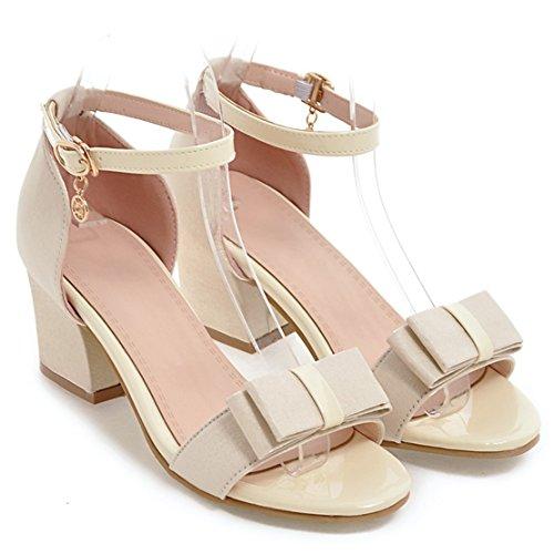 AIYOUMEI Damen Offen Knöchelriemchen Sandalen mit Schleife und 6cm Absatz Blockabsatz Bequem Elegant Schuhe Beige