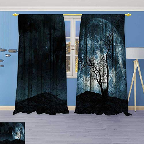 Rustic Home Decor Curtains,Moon Sky with Tree Silhouette Gothic Halloween Colors Scary Artsy Background Slate Blue,Living Room Bedroom Window Drapes 2 Panel Set