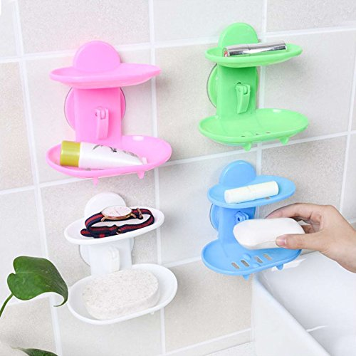 Custom Extra 1 PC Double Layers Soap Dish Bathroom Strong Sucker Soapbox PVC Plastic Double Layers 6 Colors Bathroom