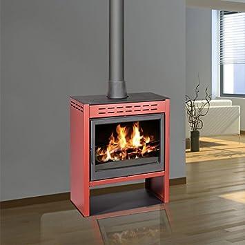 Estufa de leña ONYX Kw 14 a 18 Kw, cámara de combustión 100% hierro leña de hasta 60 cm.: Amazon.es: Bricolaje y herramientas