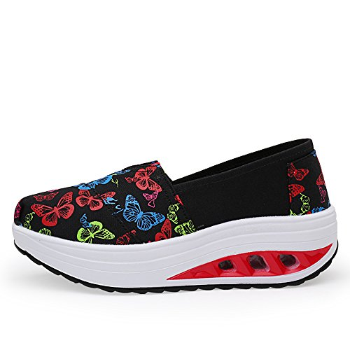 Black Shoes Sneakers Slip Canvas Platform On Fintess EnllerviiD Women Walking Shape 04 Multicolor Up OqwPxXZXn