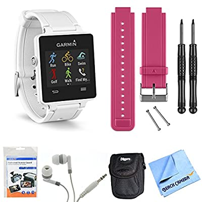 Garmin vivoactive GPS Smartwatch - White (010-01297-01) Berry Replacement Band Bundle includes White vivoactive GPS Smartwatch, Berry Replacement Band, Screen Protectors, Headphones, Carrying Case and Micro Fiber Cloth