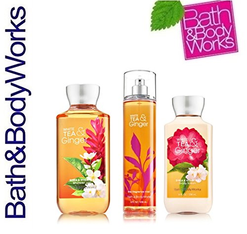 Bath & Body Works Signature Collection White Tea & Ginger Trio Gift Set ~ Shower Gel ~ Fine Fragrance Mist & Body Lotion. Lot of - Tea Scrub White Body