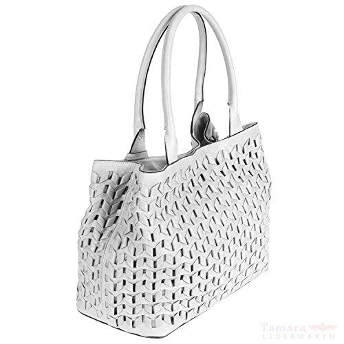 whitegold 32 5x26cm Flecht Athene Leder 027327 abro white 01 5x17 Damentasche nvfxOYqY8