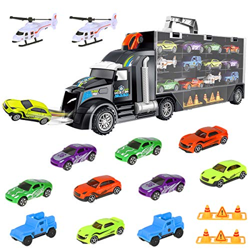 iBaseToy Toy Trucks Transport Car Carrier - Toy Cars Truck Educational Vehicles Toy Car Set Includes 10 Cars, 2 Helicopters, 28 Toy Car Slots - Great Gift for Kids, Toddlers, Children, Boys and Girls