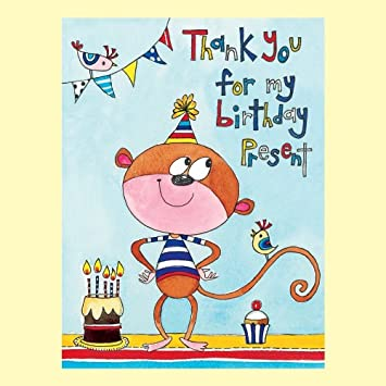 Rachel Ellen Monkey Thank You For My Birthday Present Cards 5 Pack