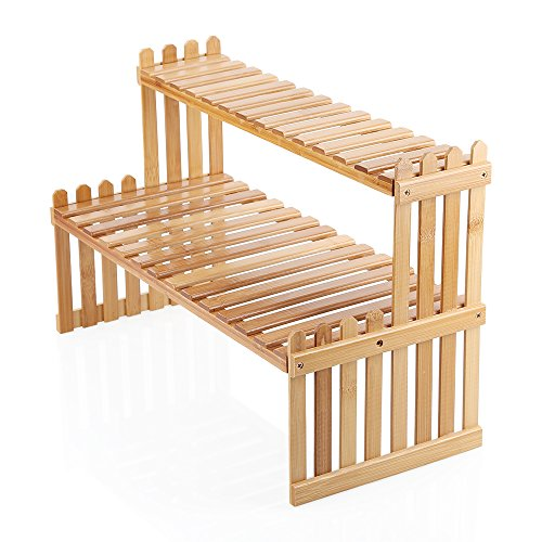 Ogori Tabletop Natural Bamboo Plant Stand, 2 Tier Desktop Shelf Rack (Tabletop Stand Display)
