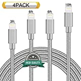 Youer Lightning Cable 4Pack 3FT 6FT 6FT 10FT Nylon Braided Certified iPhone Cable USB Cord Charging Charger for Apple iPhone 6, 6s, 6+, 5, 5c, 5s, SE, iPad, iPod Nano, iPod Touch (Grey)I5566