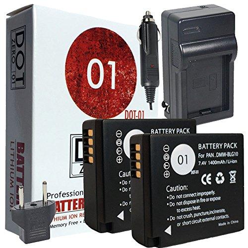 DOT-01 2X Brand Panasonic DC-LX100 II, ZS60 Batteries and Charger for Panasonic DC-LX100 II, ZS60 Camera and Panasonic DC-LX100 II, ZS60 Battery and Charger Bundle for Panasonic BLG10 DMW-BLG10