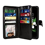 NEXTKIN LG K7 Tribute Case, Leather Dual Wallet Folio TPU Cover, 2 Large Pockets Double flap Privacy, Multi Card Slots Snap Button Strap For LG K7 Tribute 5 LS675 MS330/M1/Treasure - Black