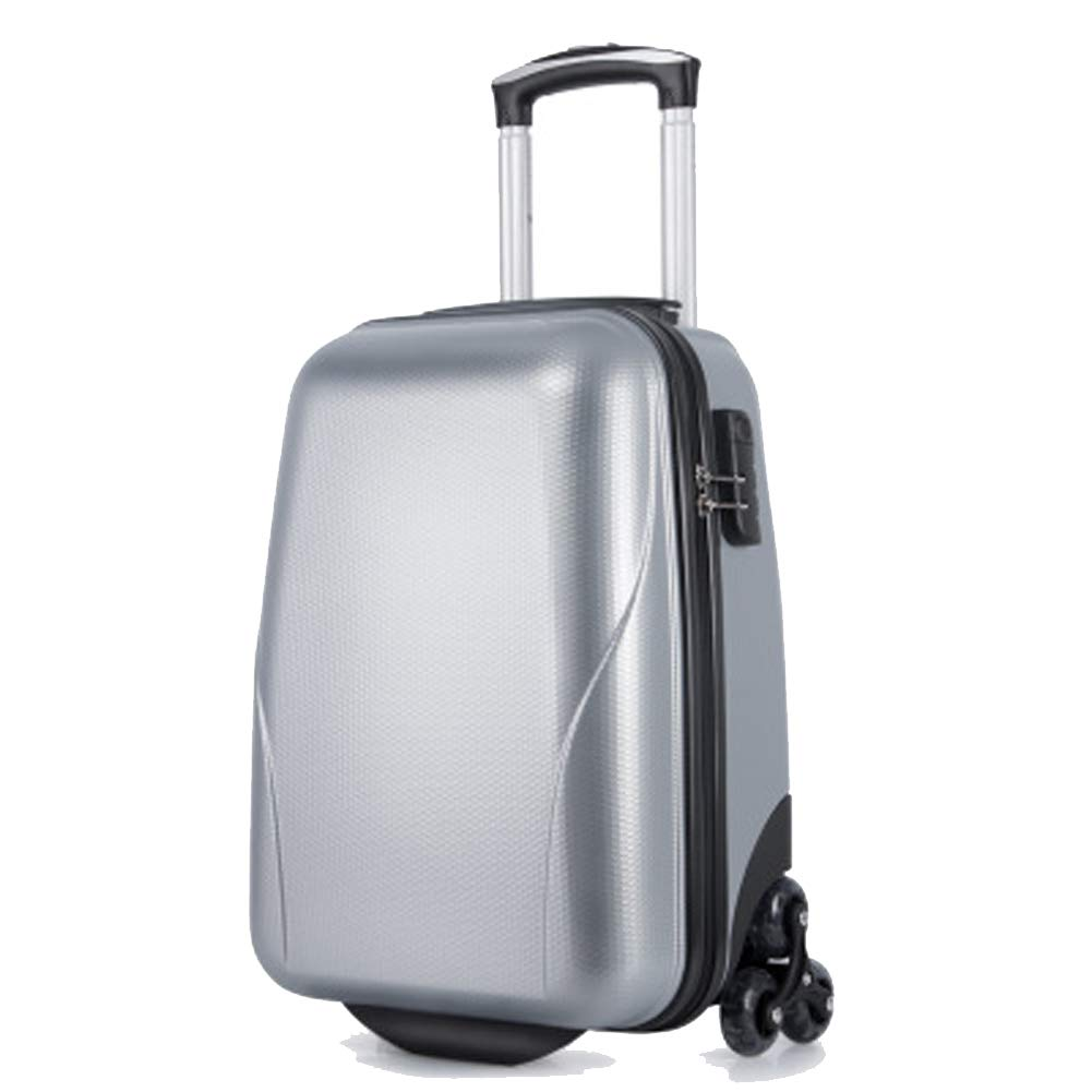 BAG トランクトロリーケース 牽引ラダーホイールクライミングボックス ビジネスレジャースーツケース 傷防止ハニカムラゲッジ ユニバーサルホイールトロリーケース M シルバー BAG000714 B07QTPV8JQ シルバー(Silver) Medium