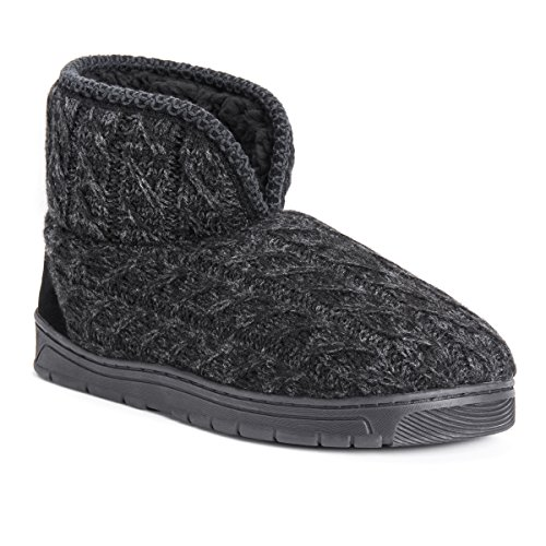 (MUK LUKS Men's Mark Slipper, Ebony/Grey, Medium (10-11) M US)