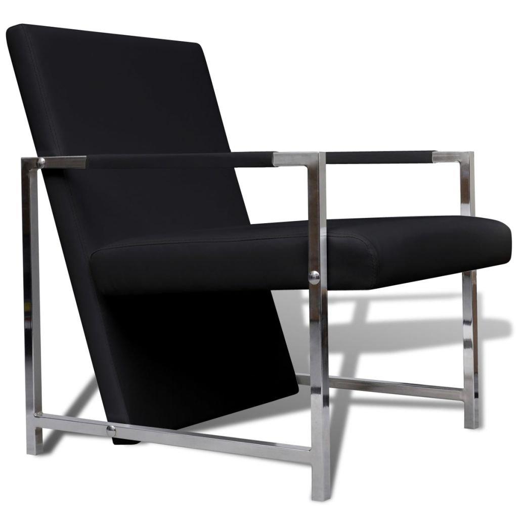 vidaXL Modern Cube Chair Club/Lounge Arm Chair Black Chrome Feet Accent Furniture
