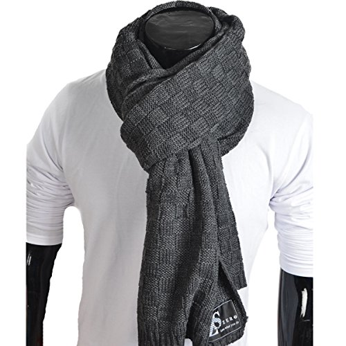 Wimdream Mens Thick knitted plaid long winter Scarf shawl E5031