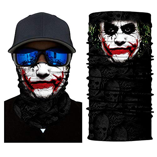 unbrand Camo Face Mask Breathable Seamless Tube Dust-Proof Windproof UV Bicycle ATV Face Mask for Motorcycling Cycling Hiking Camping Climbing Fishing Hunting (Joker Bad Mood Joker-02)]()