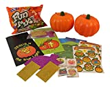 Christian Children's Halloween Bundle: 2-5'' Carvable Pumpkins, 2 Christian Pumpkin Sticker Decorations, 2- Paper Treat Sacks, 2- Sticker Scenes, Christian Temporary Tattoos, 1 Candy Assortment