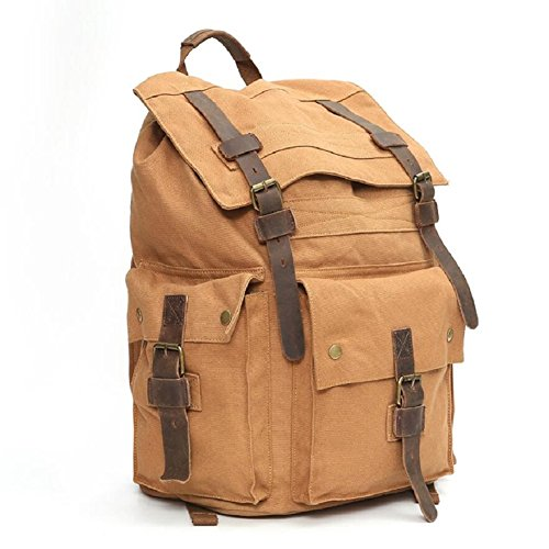 ZC Outdoor Canvas Large Mountaineering Shoulder Style Continental Student Bag 29 Retro Capacity L Bag amp;J Hiking Men's A Bag pBgq6pr