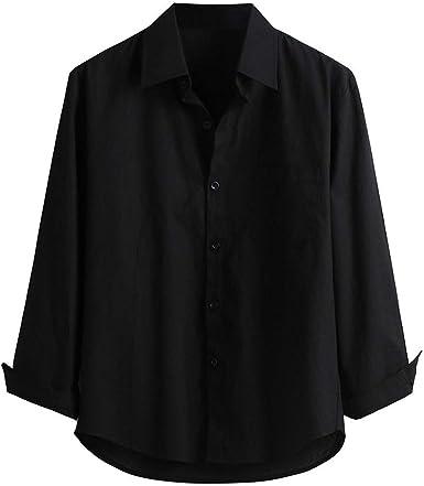 Camisas Hombre Manga Larga Camisetas para Hombre Color sólido Camisas de Negocios para Hombre Camisa de algodón para Hombre Camisa de la Solapa de Moda Camisas Casual para Hombre: Amazon.es: Ropa y