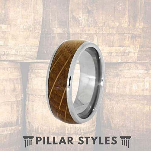 Amazon Com Whiskey Barrel Rings For Men Tungsten Wedding Band Mens Ring 8mm Bourbon Barrel