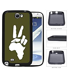 African Continent Motherland Peace Sign Green Rubber Silicone TPU Cell Phone Case Samsung Galaxy Note 2 II N7100