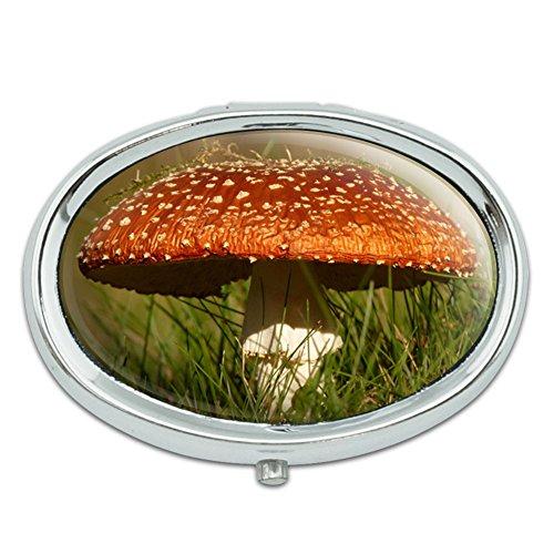 Fly Agaric Amanita Mushroom Metal Oval Pill Case Box - Fly Agaric Mushroom