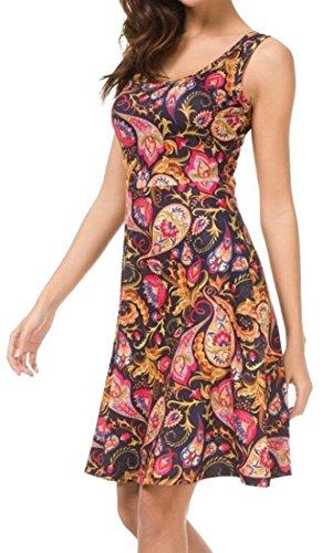 Alion Casual Vest Summer Dresses Dress Sleeveless Women 6 Pleated Print fgnPfrTqw