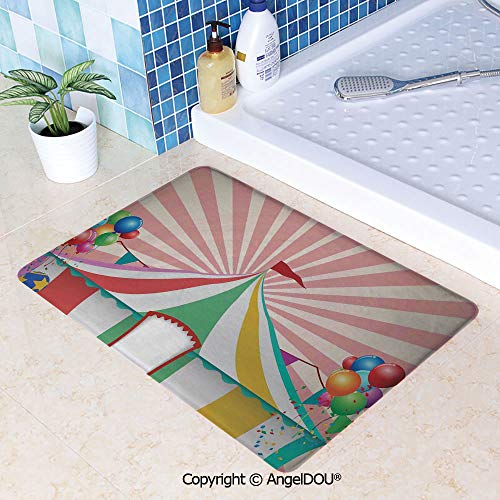 - SCOXIXI Living Room Bedroom Carpet Thicken Non-Slip Mat Old Style Vintage Circus Tent with Baloons Carnival Celebration Performance Animals Artwork for Home Hotel Cafe Restaurant W15.7xL23.6(inch)