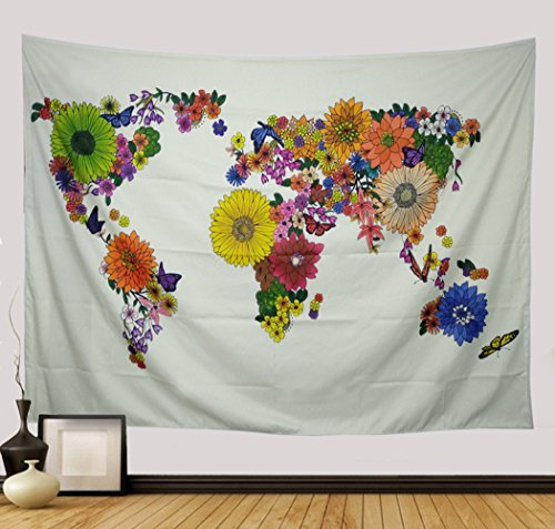 - Generleo World Tapestry Wall Hanging Map Tapestry Sunflower Tapestry Colorful Flower Map Wall Tapestry Retro Hippie Tapestry Psychedelic Bohemian Butterfly Tapestry for Bedroom Home Decor