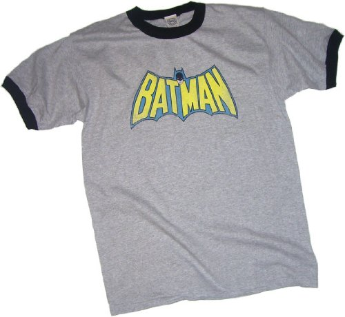 Batman Vintage Bat-Cape Logo Adult Ringer T-Shirt, Small - Logo Womens Ringer T-shirt