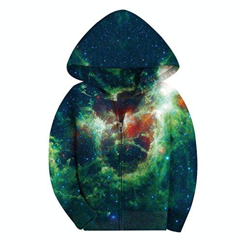 (SAYM Big Boys' Youth Galaxy Teen Jackets Fleece Full Zip Hooded Hoodie 6-15Y NO20 L)