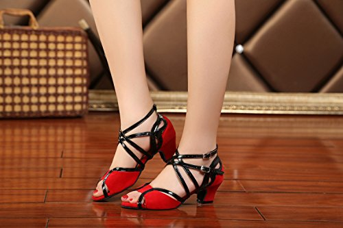 Latin Ballroom Strap Salsa Monk Suede High Red Heel Peep Toe Dance Sandals 5cm Tango QJ6132 Womens Heel Minitoo 47Apv7