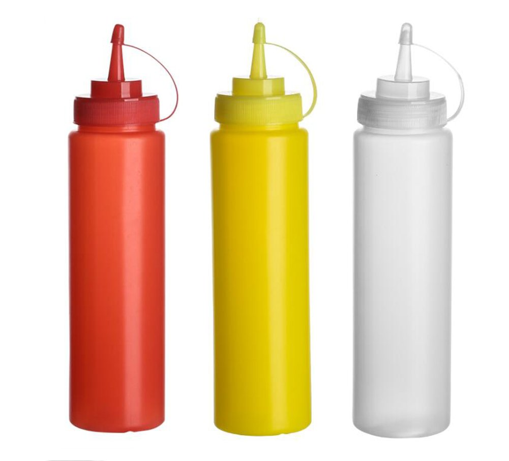 3PCS 120z 360ml Empty Refillable Plastic Squeeze Sauce Condiment Bottles Container Seasoning Dispenser for Ketchup Mustard Sauce Vinegar Cream Honey Salad Dressing(Color Random) Elandy