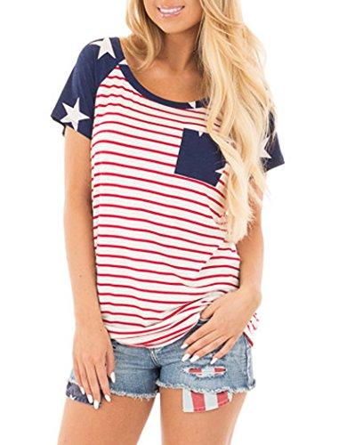 Halife Striped Raglan Shirt Women, American Flag Printed Tunic Tops with Pocket L ()