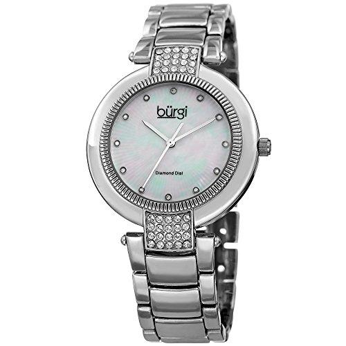 Burgi Women's Quartz Diamond & Swarovski Crystal Accented Mother-of-Pearl Dial Silver-Tone Bracelet Watch - BUR181SS