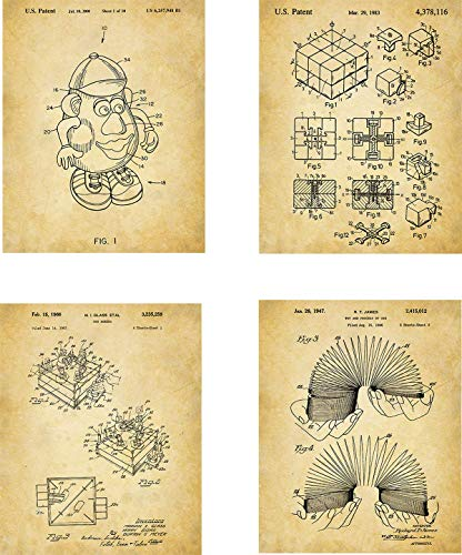 - Old Toys Patent Wall Art Prints - set of Four (8x10) Unframed - wall art decor