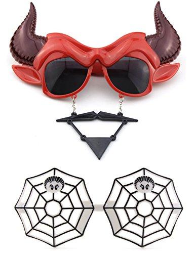 Halloween Devil Mask Sunglasses and Spider Web Sunglasses Festival (Spider Web Mask)