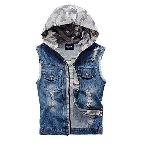 Zicac Mens Top Designed Casual Cowboy Waistcoat Denim Vest (L(Asia Tag XXL), Blue)