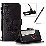 Wallet Leather Case for Samsung Galaxy A8 Plus 2018,Strap Leather Cover for Samsung Galaxy A8 Plus 2018,Herzzer Premium Elegant Black Dandelion Butterfly Printed Magnetic Foldable Full Body Folio Pu Leather Soft Inner Stand Cover with Card Slots