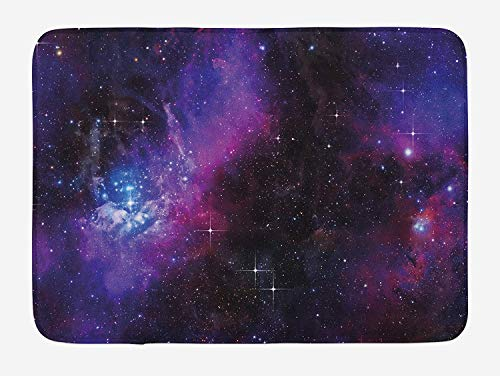 Weeosazg Space Bath Mat, Nebula Dark Galaxy with Luminous Stars and Cosmic Rays Astronomy Explore Theme, Plush Bathroom Decor Mat with Non Slip Backing, 31.5 X 19.7 Inches, Magenta Blue