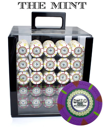 Claysmith Gaming 1,000 Ct The Mint Poker Set - 13.5g Clay Composite Chips with Acrylic Display Case for Casino Games