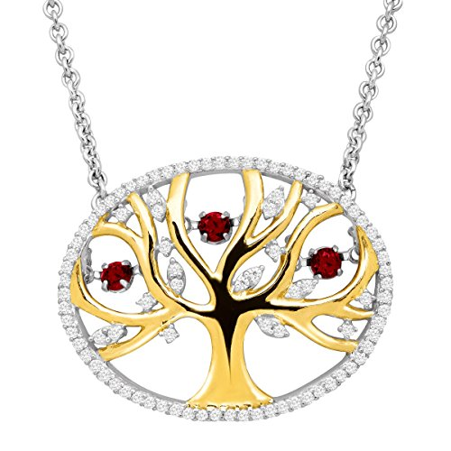 1/3 ct Created Ruby Tree of Love Floater Necklace with Cubic Zirconia in 14K Gold-Plated Sterling Silver by Finecraft