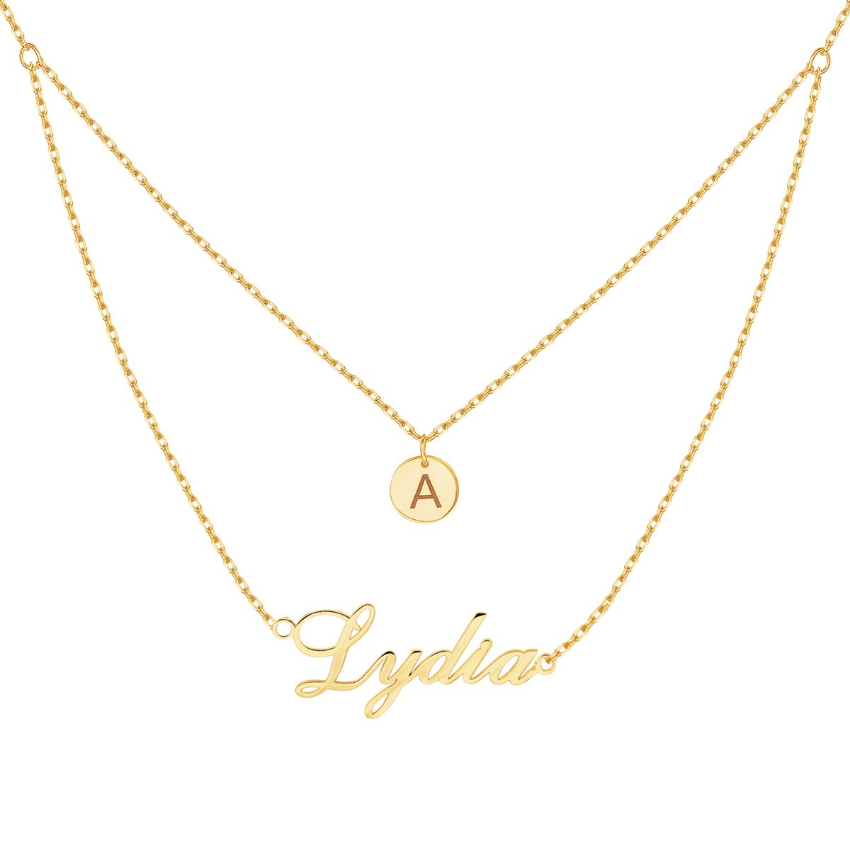 Amazon.com  Yoke Style Personalized Layered Name Necklace with Disc ... 42beef08b6