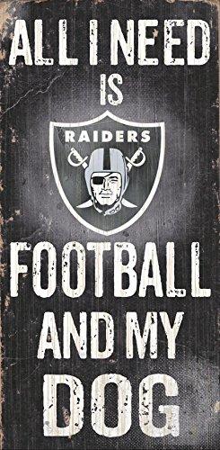 Oakland Raiders Wood Sign   Football And Dog 6 X12