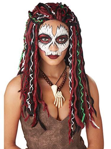 Voodoo Woman Halloween Costume (California Costumes Unisex Voodoo Priestess Adult Wig, Burgundy/Black, One)