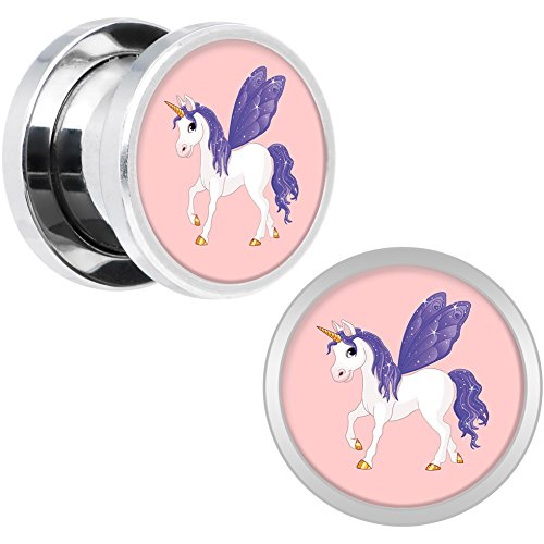 Amazon.com: Body Candy Stainless Steel Purple Winged Unicorn Screw Fit Double Flare Ear Gauge Plug Pair 00 Gauge: Body Candy: Jewelry