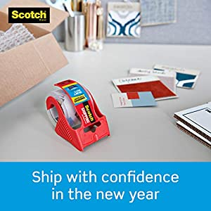 Scotch Tape Heavy Duty Shipping Packaging Tape, 1.88 Inches x 800 Inches, 1.5″ Core, Clear, Great for Packing, Shipping & Moving, Rolls with Dispenser